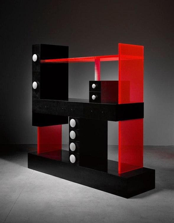 Ettore Sottsass (Italian, 1917-2007). Cabinet No. 56, 2003. Wood, ebonized pearwood veneer, acrylic. Courtesy of The Gallery Mourmans. © Studio Ettore Sottsass Sr