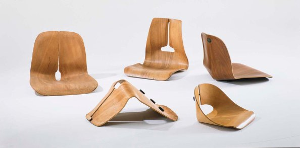 Experimental moulded plywood seat shells, 1941/1945. © Vitra Design Museum, Photo: Thomas Dix