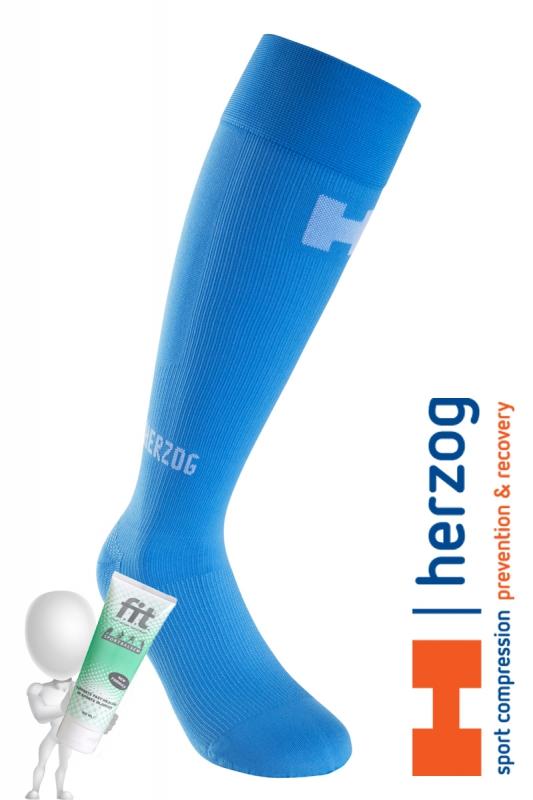 Herzog Pro sportcompressiekousen Lichtblauw