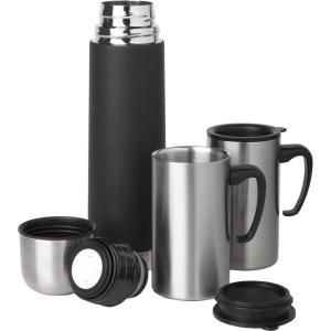 RVS Isoleerfles/thermosfles 0.5 liter set met 2 thermosbekers