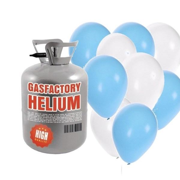Helium tank met jongen geboren 30 ballonnen