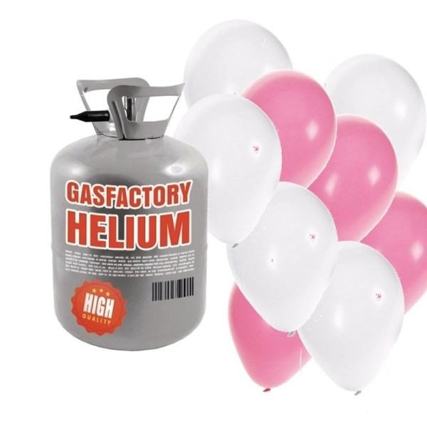 Helium tank met meisje geboren 50 ballonnen