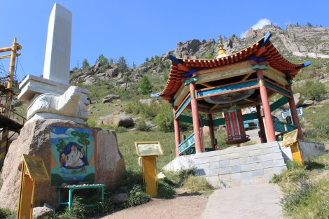 The prayer wheel which points to the saying of Buddha that you are supposed to meditate on