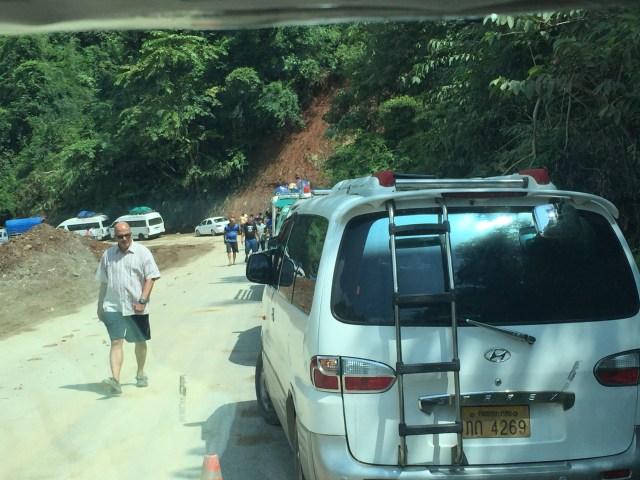 Several vehicles stranded at the first landslide