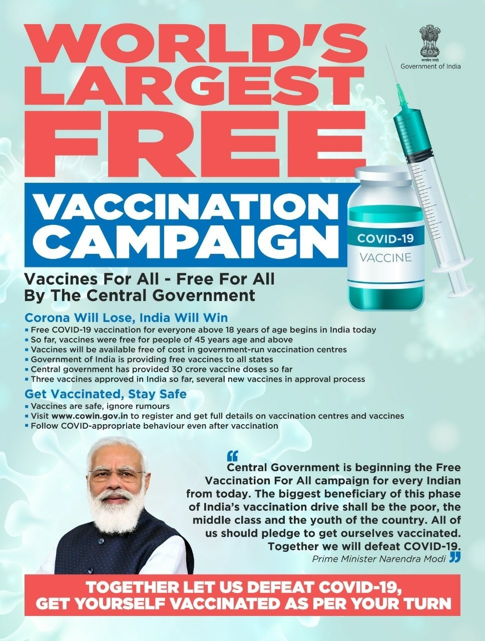 Free Vaccination - 8 million