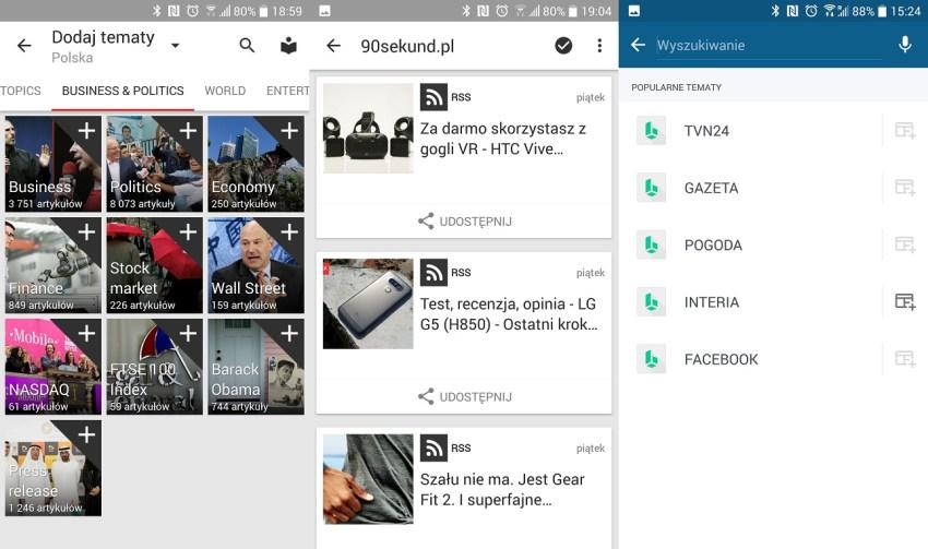 Konfiguracja BlinkFeed, którego gł. składnikiem jest agregator newsów News Republic otwarta jest też na polskie źródła informacyjne - recenzja 90sekund.pl