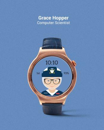 Tarcza zegarka z Grace Hopper - fot. Fat Russell