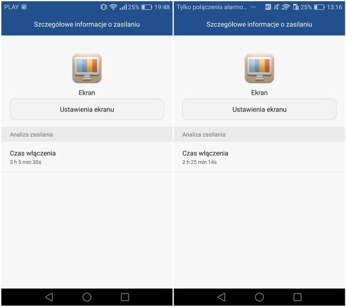 Huawei P9 Lite - Przykładowe zużycie energii - recenzja 90sekund.pl