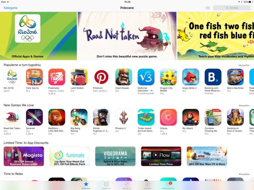 App Store - sklep z aplikacjami w iOS 9 na Apple iPadzie Pro 12,9 - 90sekund.pl