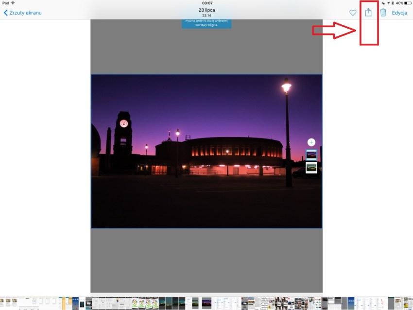 Udostępnianie w Apple Zdjęciach na iOS 9.3.4 przy jednym pliku jest z prawej strony... - 90sekund.pl