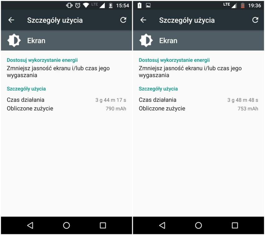 Lenogo Moto G 4-gen - Przykładowe zużycie baterii - recenzja 90sekund.pl