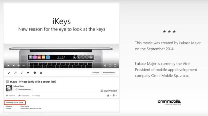 iKeys - fot YouTube na podstawie konceptu Łukasza Majera