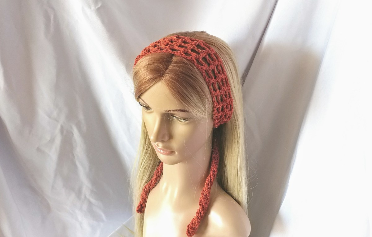 Burnt Orange Boho Crochet Headband Long Cotton Summer Hair