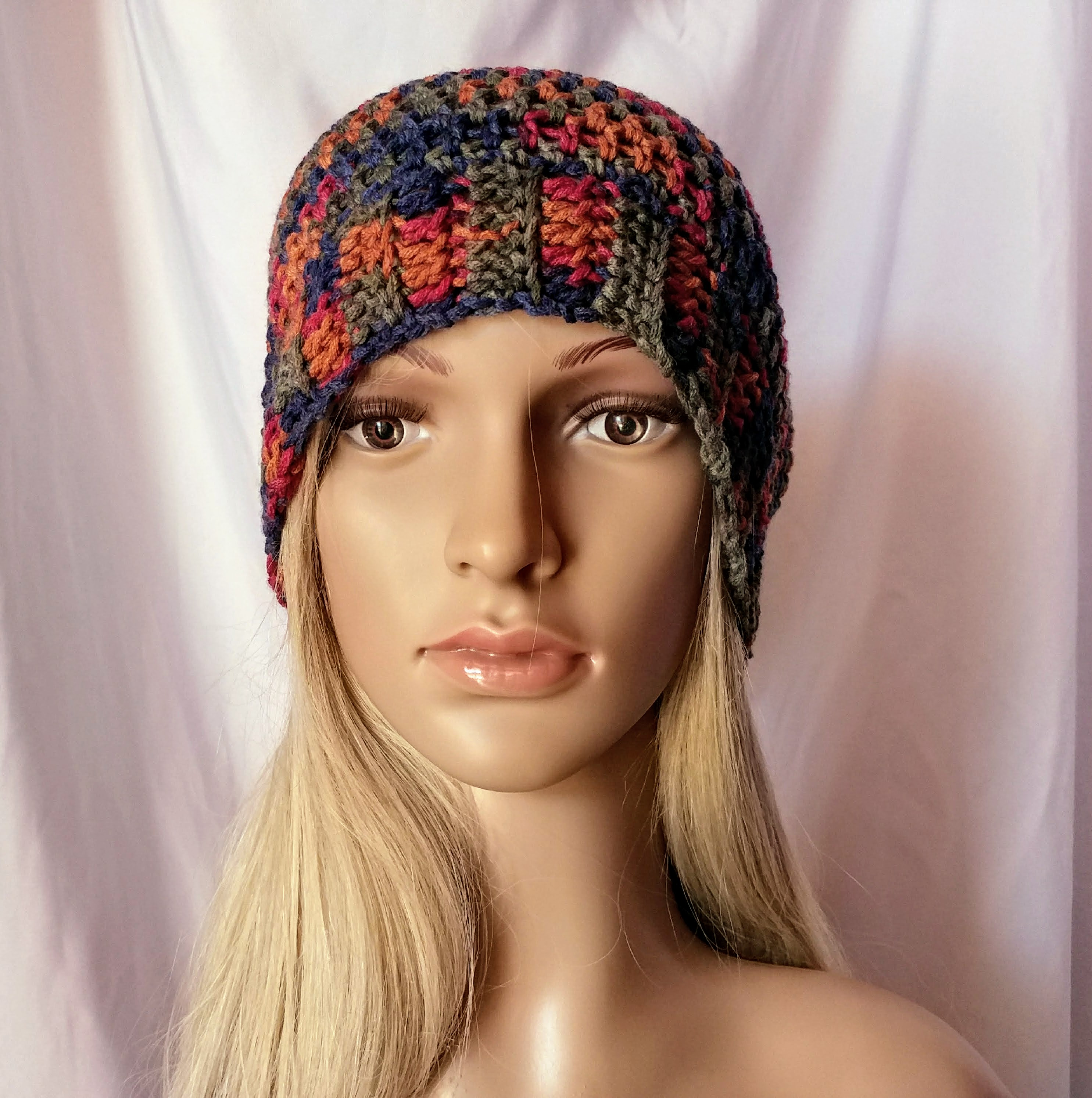 Men S Crochet Hat Multicolor Red Blue And Gold Ribbed Brim Slouchy