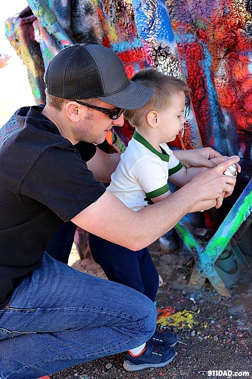 spray painting cadillac ranch