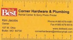 CORNER HARDWARE BUSINESS CARD