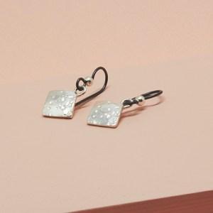 Ocean Earrings tilted corner silver