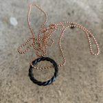ICE Black Circle Necklace on Rosegolden Silver BallChain