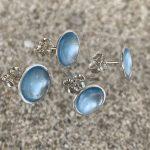 Dots Studs Light Pastel Blue 10 mm