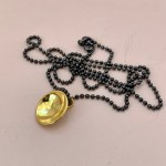 Dots Necklace Gold Plated on Rhodium Black Ball Chain
