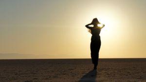 woman desert alone