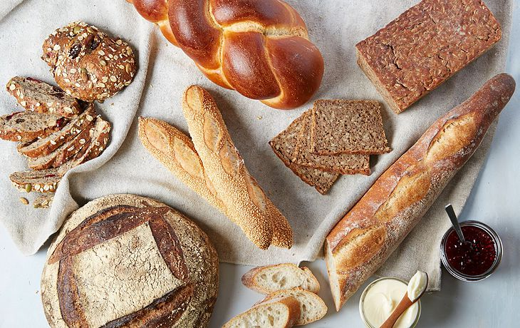 baked goods bread assortment whole wheat white wallah baguette jelly cream
