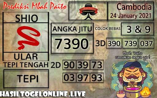 Prediksi Togel Cambodia 24 January 2021