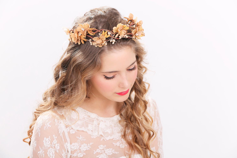 Rustic Flower Crown Bridal Headband, Flower Crown