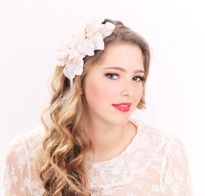 bridal headband, bridal headpiece, wedding hair accessories, wedding headband, ivory flower hair crown