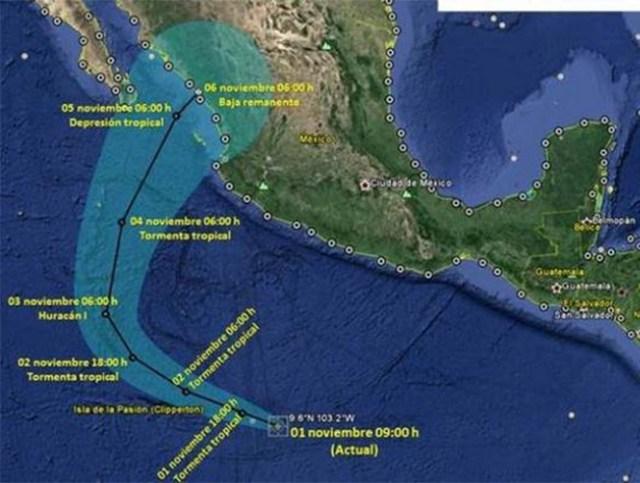 De acuerdo con los pronósticos, se localizaría a 920 kilómetros al sur-suroeste de Acapulco, Guerrero.