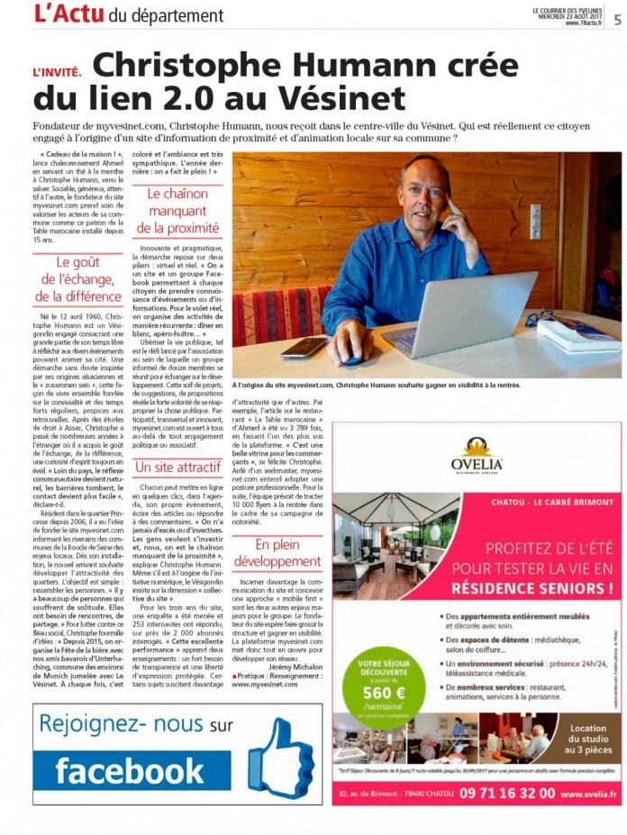 23 août 2017 : Myvesinet.com dans le Courrier des Yvelines