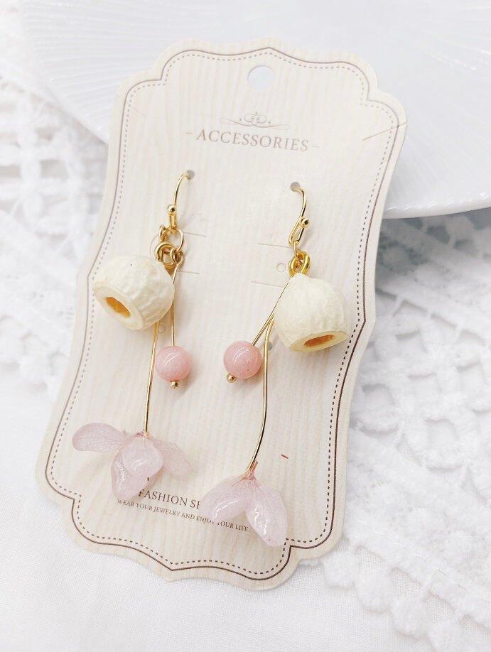 粉色真花果實耳環