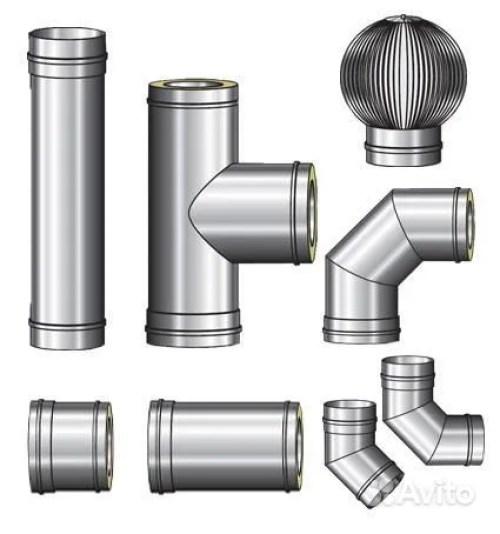Комплект утепленных металлических труб для монтажа вентиляции