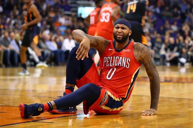 Nov 24, 2017; Phoenix, AZ: New Orleans Pelicans center DeMarcus Cousins reacts against the Phoenix Suns at Talking Stick Resort Arena. (Mark J. Rebilas-USA TODAY Sports)