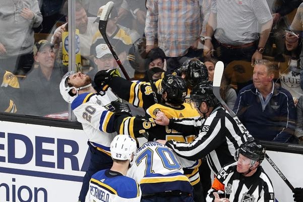 Alexander Steen of the St. Louis Blues mixes it up with Jake DeBrusk and Connor Clifton of the Boston Bruins during the second period in Game 1 of the 2019 NHL Stanley Cup Final at TD Garden on May 27, 2019 in Boston, Massachusetts. (Photo by Patrick Smith/Getty Images)