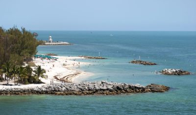 The aerial view of Key West resort town beach in Fort Zachary Taylor park (Florida).