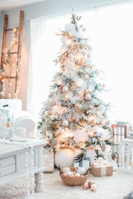 Elegant White Vintage Christmas Decoration Ideas 55