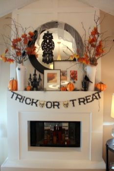 Scary But Classy Halloween Fireplace Decoration Ideas 49