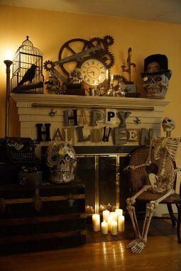 Scary But Classy Halloween Fireplace Decoration Ideas 58