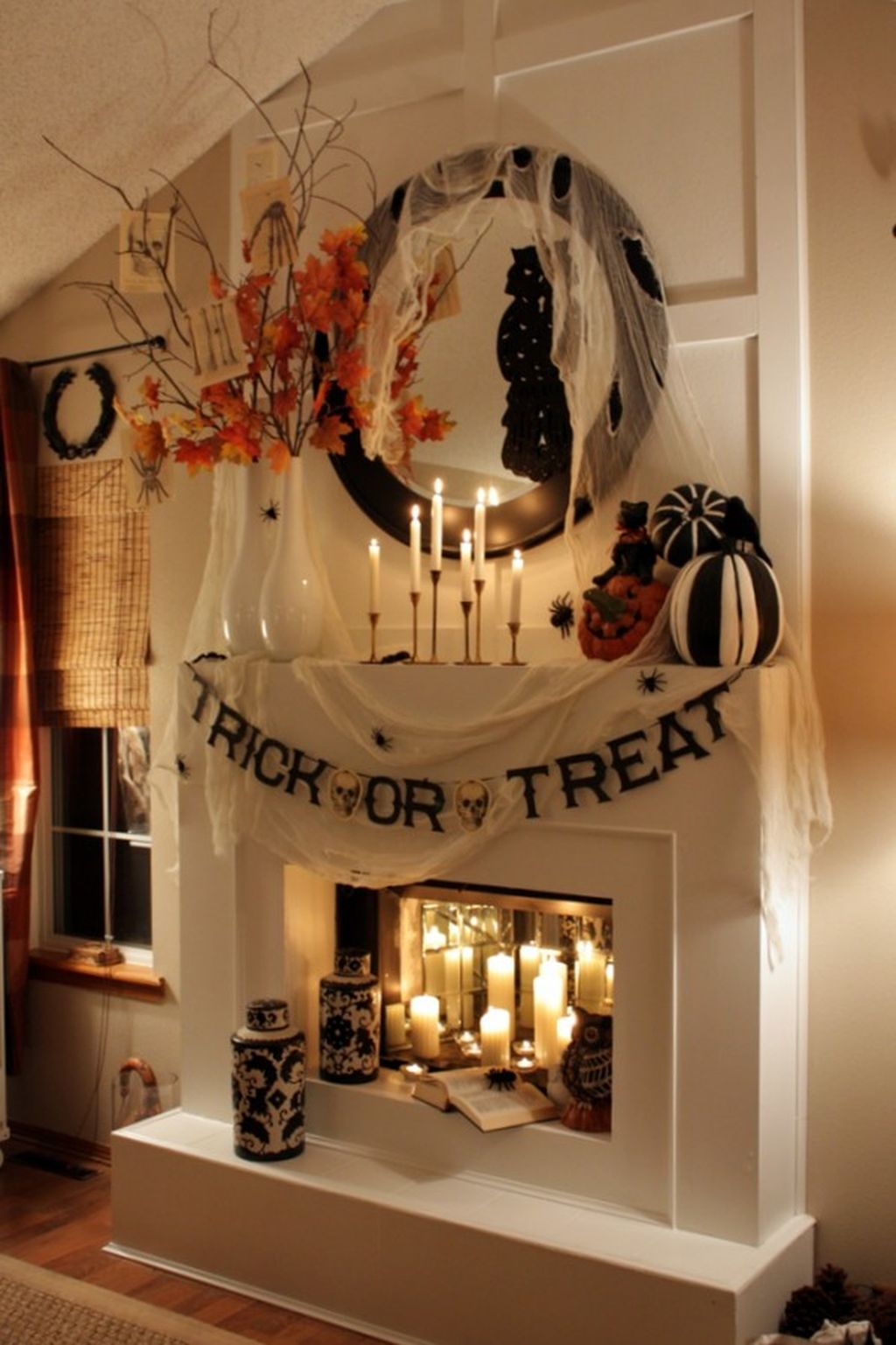 Scary But Classy Halloween Fireplace Decoration Ideas 96