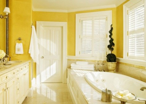 Lovely Sunny Yellow Bathroom Design Ideas 33