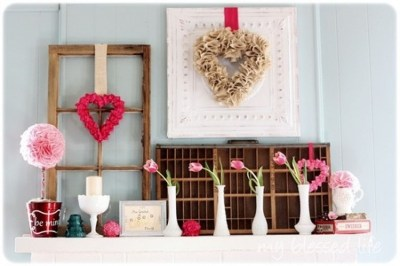 Totally Cool Valentine Mantel Decoration Ideas 13