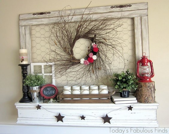 Best Valentines Fire Pit Mantel Decorating Ideas 04