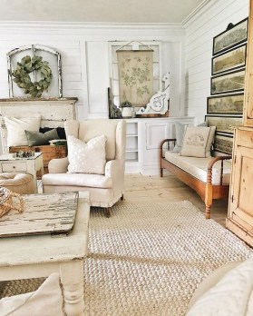Cute Shabby Chic Farmhouse Living Room Decor Ideas 52