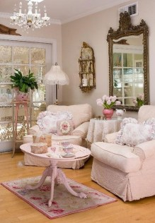 Cute Shabby Chic Farmhouse Living Room Design Ideas 11