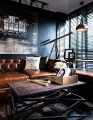 Fancy Leather Living Room Furniture Design Ideas 19