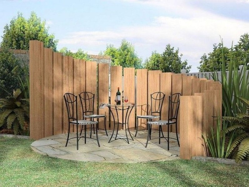 Stylish Wooden Privacy Fence Patio Backyard Landscaping Ideas37