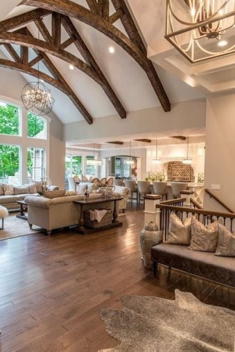 Amazing Living Rooms Design Ideas With Exposed Wooden Beams 10