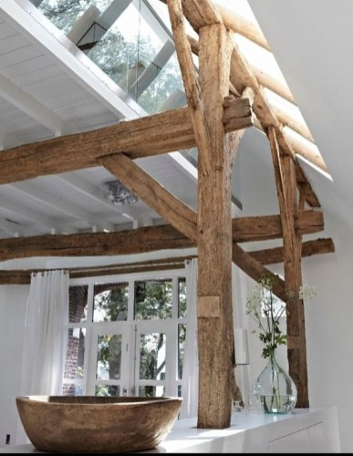 Amazing Living Rooms Design Ideas With Exposed Wooden Beams 21