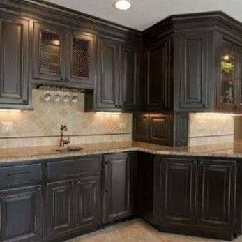 Magnficient Small Kitchens Ideas With Dark Cabinets37